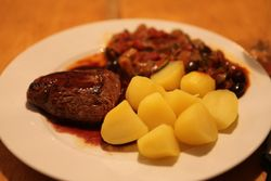 Beef tenderloin with potatoes and rattatoille, by Paul Keller