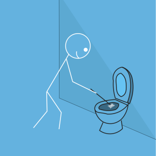 Stickman First clean the toilets